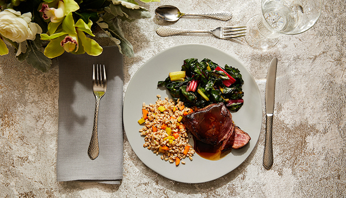 Tenderloin Dinner on a Plate with Table Setting